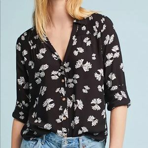 MAEVE Anthropologie Black White Emory Bow Top 12